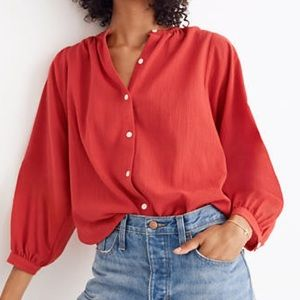 Madewell Peasant Top Button Front Red Large